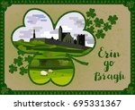 vector greeting card. irish... | Shutterstock .eps vector #695331367
