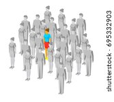 alone in the crowd. one colored ... | Shutterstock .eps vector #695332903