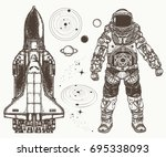 astronaut  spaceship  solar... | Shutterstock .eps vector #695338093