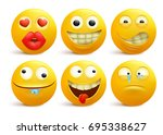 set of yellow smiley face... | Shutterstock .eps vector #695338627