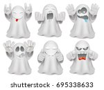set of cute cartoon ghost... | Shutterstock .eps vector #695338633