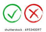 check marks tick and cross icon.... | Shutterstock .eps vector #695340097