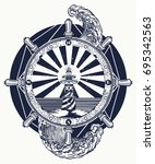 lighthouse and sea  tattoo and... | Shutterstock .eps vector #695342563