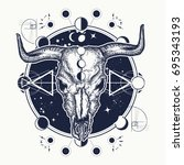 bison skull tattoo. native... | Shutterstock .eps vector #695343193