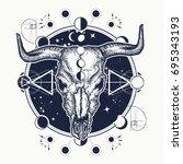 bison skull tattoo. shamanism....   Shutterstock .eps vector #695343193