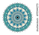 flower mandalas. vintage... | Shutterstock .eps vector #695344273