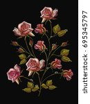 embroidery beautiful roses ...   Shutterstock .eps vector #695345797