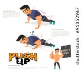 man doing push up workout... | Shutterstock .eps vector #695352967