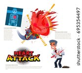 heart attack. boxing glove... | Shutterstock .eps vector #695354497