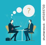business meeting. two business... | Shutterstock .eps vector #695355733