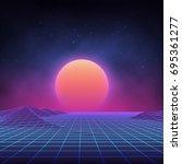 futuristic retro landscape of...   Shutterstock .eps vector #695361277