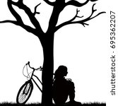 woman and bicycle leaning... | Shutterstock .eps vector #695362207