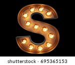 light bulb glowing letter... | Shutterstock . vector #695365153
