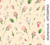 vintage watercolor seamless... | Shutterstock . vector #695368963