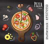 pizza on wood cutting board on... | Shutterstock .eps vector #695370553