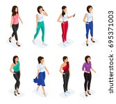 trendy isometric people set. 3d ... | Shutterstock .eps vector #695371003