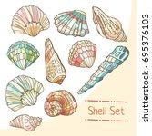 shell set isolated on white...   Shutterstock .eps vector #695376103