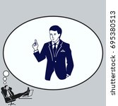 a man in a suit shows a sign of ... | Shutterstock .eps vector #695380513