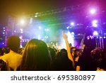 young people dancing and having ... | Shutterstock . vector #695380897