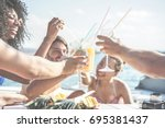 happy friends drinking tropical ... | Shutterstock . vector #695381437