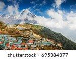 namche bazar and mount... | Shutterstock . vector #695384377