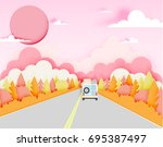 road trip with car and natural... | Shutterstock .eps vector #695387497