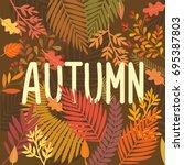 hello  autumn. autumnal... | Shutterstock .eps vector #695387803