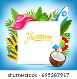 tropical exotic design card... | Shutterstock .eps vector #695387917