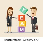 business man and woman ... | Shutterstock .eps vector #695397577