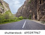 beautiful landscape with road... | Shutterstock . vector #695397967