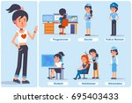 young girl in different roles.... | Shutterstock .eps vector #695403433