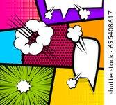 cartoon funny vintage strip... | Shutterstock .eps vector #695408617