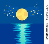Yellow Moon Over Sea Reflectio...