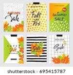 set of artistic creative autumn ... | Shutterstock .eps vector #695415787
