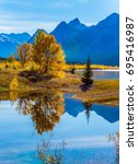 sunny autumn day in the rocky... | Shutterstock . vector #695416987