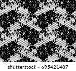 seamless vector black lace... | Shutterstock .eps vector #695421487