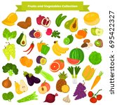 fruits and vegetables color... | Shutterstock .eps vector #695422327