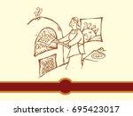 a female baker cooks fresh... | Shutterstock .eps vector #695423017