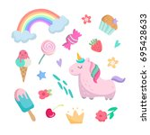 cute set with  pink unicorn ... | Shutterstock .eps vector #695428633