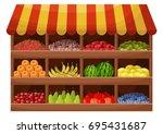 fruit farmer shop. counter with ... | Shutterstock .eps vector #695431687
