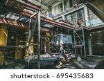 abandoned factory interior... | Shutterstock . vector #695435683