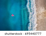 aerial view of young woman... | Shutterstock . vector #695440777