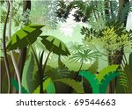overgrown plants in the jungle | Shutterstock .eps vector #69544663