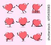 cartoon heart character poses... | Shutterstock .eps vector #695450083