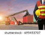 foreman or working businessman... | Shutterstock . vector #695453707