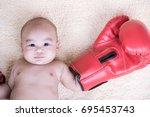 asian baby boy boxer   3 month | Shutterstock . vector #695453743