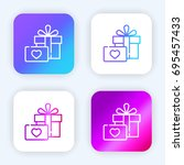 gift bright purple and blue... | Shutterstock .eps vector #695457433