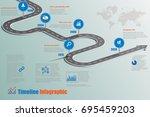 business road map timeline... | Shutterstock .eps vector #695459203