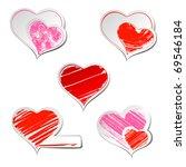 Set Of Five Hearts Sticker