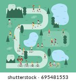 people in the park. people... | Shutterstock .eps vector #695481553